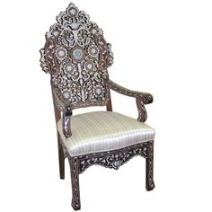 Style # 1247 - Syrian Moroccan Style Inlaid chair with mother of pearl.