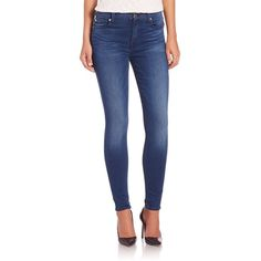 7 For All Mankind Mid-Rise Slim Illusion Ankle Skinny Jeans ($205) ❤ liked on Polyvore featuring jeans, apparel & accessories, blue, super stretch jeans, blue jeans, mid rise skinny jeans, stretch blue jeans and stretch jeans