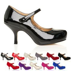 NEW WOMENS LADIES STRAP MID HEEL CASUAL SMART WORK PUMP COURT SHOES SIZE 3-8…