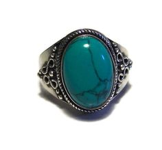 Ring, Silver.  Native Inspired 925 Sterling Silver and Turquoise Oval Ring, 4.4 g, Size 8.5, Free Shipping by colorsofthesouthwest. Explore more products on http://colorsofthesouthwest.etsy.com