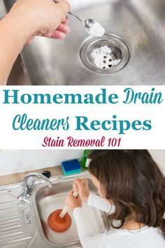 Here is a round up of homemade drain cleaners recipes, using common household ingredients to clear and unclog your homes drains {on Stain Removal 101} #HomemadeDrainCleaner #DrainCleanerRecipe #DrainCleaner