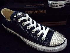 c6c3e27948e Navy Blue Converse Low Top Custom Wedding w  Swarovski Crystal Converse Low  Tops