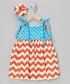 Loving this Blue & Orange Chevron Dress & Bow Clip - Infant, Toddler & Girls on #zulily! #zulilyfinds