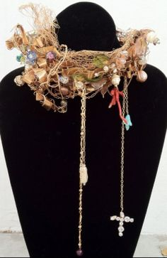 CHRISTIAN LACROIX Haute Couture 1990s Fine & rare vintage Christian Lacroix Haute Couture collar. Signed hand constructed runway item features elaborately wired collar with glass, crystal, coral, pearls etc. Outstanding design & execution.