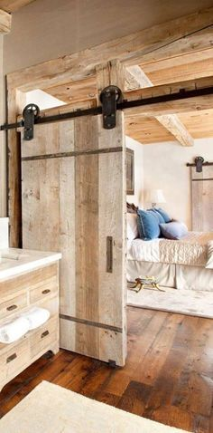 Barn doors today are becoming part of interior decoration in many houses because they are stylish. When building a barn door on your own, barn door hardware kit House Design, Master Bedroom Design, Interior Barn Doors, House Interior, Wood Doors Interior, House In The Woods, Doors, Rustic House, Rustic Bedroom Design