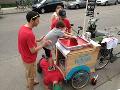 Oh, I like this... Art a Whirl Mobile Screen Printing Press