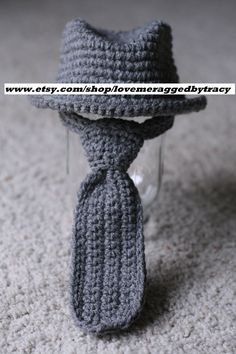 3-6 months Fedora Hat Neck Tie Set Photography Prop You Choose Color. $42.50, via Etsy.