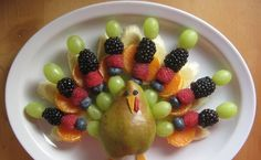 This really is the juiciest turkey I ever ate:)  For breakfast today I enjoyed a fruit arrangement in the shape of a turkey. This is anothe...