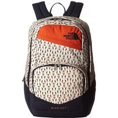 The North Face Wise Guy Backpack (Orange Rust Tribal Tribute Print)... (2.635 RUB) ❤ liked on Polyvore featuring bags, backpacks, tribal backpack, top handle bags, patterned backpacks, zip bag and the north face