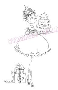 6.5 x 4.5 Stamping Bella Uptown Girl Ava Loves to Celebrate Cling Rubber Stamp