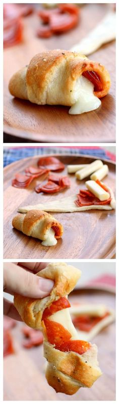 These Pepperoni Cheese Stick Roll Ups are great for kids and crowd pleasers. the-girl-who-ate-everything.com: