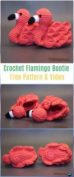 Crochet Flamingo Booties - lots of patterns for #babybooties #crochet #crochetpatterns