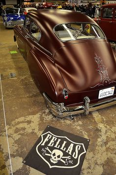 I love when people are ballsy enough to use other matte colors besides black. This turned out amazing and is unlike anything else. Never mind the insane pin striping job! Vintage Cars, Antique Cars, Lead Sled, Pinstriping, Sweet Cars, Us Cars, Custom Cars, Cars Motorcycles, Luxury Cars