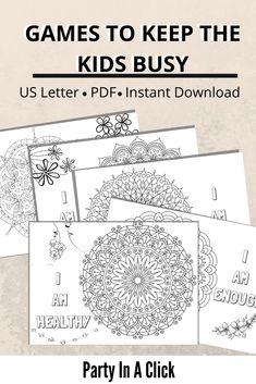 Positive Mandala Affirmation Coloring Pages Printable Games For Kids, Worksheets For Kids, Activities For Kids, Mandala Coloring Pages, Colouring Pages, Coloring Pages For Kids, Family Games Indoor, Family Fun Games, Indoor Games