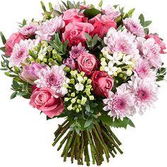 Aquarelle.com Bouquet de fleurs de saison dans une harmonie de rose !