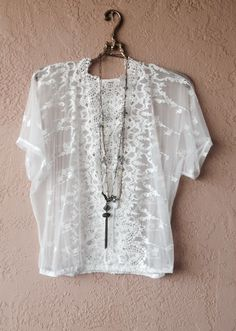 Image of Urban Outfitters Sheer mesh kimono with tie frint
