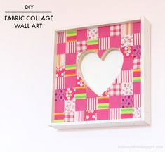 """That's My Letter: """"H"""" is for Heart Wall Art, fabric collage wall art"""