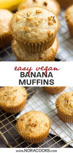 Quick & Easy Vegan Banana Muffins made in just 1 bowl! SO fluffy and moist. Vegan Brunch Recipes, Vegan Baking Recipes, Baby Food Recipes, Snack Recipes, Vegan Treats, Vegan Foods, Vegan Dishes, Vegan Snacks, Vegan Breakfast Muffins