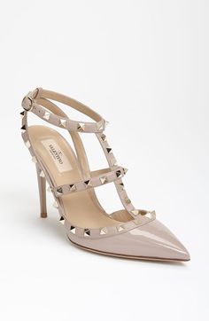 618c62f2fd8c ... the caged topline of a much-beloved pointy-toe pump crafted from high-shine  patent leather. Style Name Valentino Garavani Rockstud T-Strap Pump (Women)