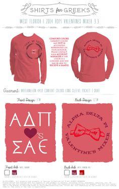 ADPi | SAE | Alpha Delta Pi | Sigma Alpha Epsilon | Valentine's Mixer | Mixer Ideas | Socials | Tshirt Designs | Long Sleeve | Comfort Colors | shirtsforgreeks.com