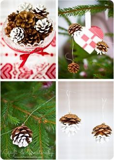 Färgdoppade kottar - <br><i>Paint dipped pine cones</i> Pine Cone Decorations, Homemade Christmas Decorations, Christmas Crafts For Kids, Christmas Projects, Thanksgiving Crafts, Holiday Decorations, Mini Christmas Tree, Christmas Mood, Holiday Fun