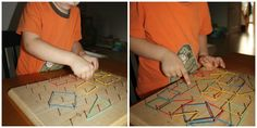 geo board for examining shapes with #kids