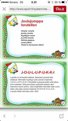 Joulujumppaa Christmas Calendar, Kids Christmas, Christmas Crafts, Christmas Decorations, Early Education, Early Childhood Education, Picture Cards, Little People, Crafts For Kids