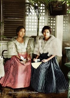 """Schoolgirls in native dress – upper garment is made of hemp gauge, Manila, Philippines, early century"" Image source: H. White Company @ John Tewell Colorized by E. Philippines Outfit, Philippines Fashion, Philippines Culture, Manila Philippines, Maria Clara Dress Philippines, Philippines People, Filipino Art, Filipino Culture, Filipino Food"