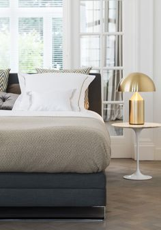 Our unique bed collection Ultima by Beka. Boxspring Box de Luxe with headboard Ligne in fabric Empire Grey. #beka #bed #boxspring