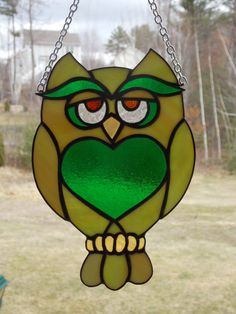 Wise Guy Stained Glass Owl in Green Decorative by RiffRaffGlass