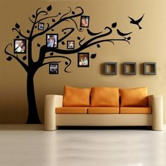 34 trendy ideas for family tree wall painting cribs Tree Stencil For Wall, Tree Wall Painting, Wall Stenciling, Painting Stencils, Stencil Art, Stencil Designs, Living Room Paint, Living Room Decor, Living Rooms