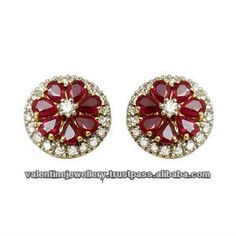 genuine ruby stud earrings, diamond and ruby earrings india, pear shaped ruby in flower pattern earring, View genuine ruby stud earrings, valentine Jewellery Product Details from VALENTINE JEWELLERY (INDIA) PVT. LTD. on Alibaba.com