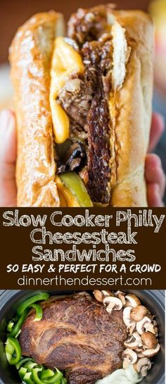 Slow Cooker Philly Cheese Steak Sandwiches that are so tender and flavorful you\'ll feel like you\'re in Philly. Perfect for a crowd!