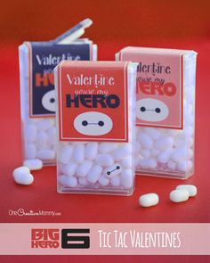Download Page Thanks for stopping by to download my free printable Big Hero 6 Tic Tac Valentine Wrappers. I hope your kiddos love them! All you need to do is print and cut, and then glue the labels to the Tic Tac boxes with double sided tape. I have two printables to choose from. You … Read More