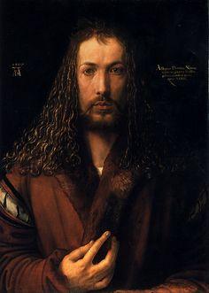 Albrecht Dürer (1471-1528) 1500  Self Portrait  Oil on lime panel  Alte Pinakothek (Munich, Bavaria, Germany)
