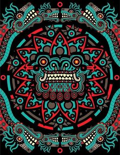 """""""Quetzalcoatl"""", (Maya Art), Design, Symbol, Ancient and spiritual""""Logo"""". Psychedelic Art, Art Chicano, Chicano Tattoos, Aztec Warrior, Inka, Psy Art, Aztec Art, Mexican Art, Vector Art"""