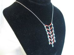 Authentic coral and turquoise mesh pendant w by charleydarbo, $39.00