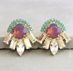 Purple Turquoise Statement Crystal EarringsSwarovski by iloniti