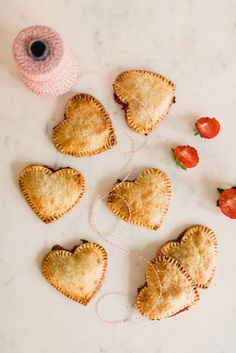 heart-shaped strawberry pies