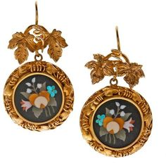 Preowned Antique Pietra Dura Yellow Gold Victorian Earrings ($3,500) ❤ liked on Polyvore featuring jewelry, earrings, drop earrings, yellow, antique gold charms, antique victorian earrings, yellow earrings and gold flower earrings