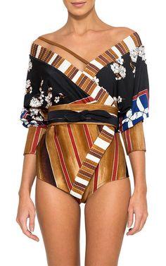 ffea983ccfc58 Cottage Kimono Maillot Swimsuit by LENNY NIEMEYER for Preorder on Moda  Operandi Obi Belt, Swimsuits