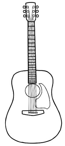 acoustic guitar pattern use the printable outline for crafts