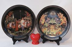 Vintage Russian Legends Plates  Porcelain with 18K by YourHeart, $120.00