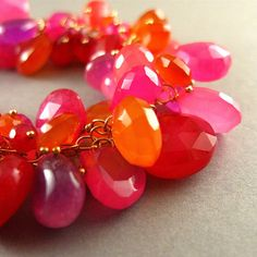 Pink and Orange Chalcedony Gold Fill Bracelet