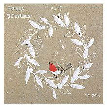 Buy Hammond Gower Wreath & Robin Christmas Card Online at johnlewis.com