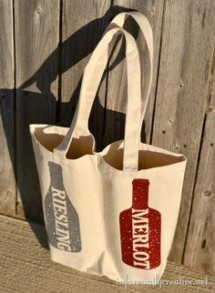 Double wine bottle tote bag made from a canvas tote--simply sew down the middle. Embroider a monogram too