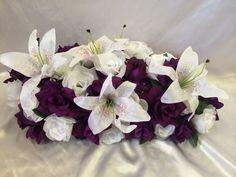 Plum Purple Silk Wedding Flowers Centerpiece | eBay