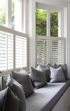 Bow window treatments Want to create a window seat in your bay window? Shutters are streamlined enou Bedroom Windows, Living Room Windows, Blinds For Windows, Bedroom Curtains, Living Room With Bay Window, Diy Bedroom, Curtains Living Room Bay Window, Blinds Curtains, Window Seat Curtains