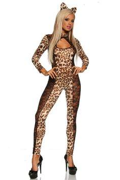 Amour Wild Lepard Costume Catsuits Black Lace Goth Punk Stripper  59cd2ac17