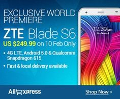 #Exclusive World Premiere ZTE Blade S6  $249.99 Preview Now Discount Shopping, Blade, Shop Now, Good Things, World, The World, Llamas